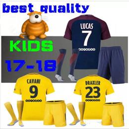 2017 KIT DE NIÑOS 2018 KIT DE NIÑOS DANI ALVES Neymar JR DI MARIA Camisa de fútbol de casa de Jersey Away VERRATTI Surveillance matuidi Camisa de fútbol de CAVANI KIDS