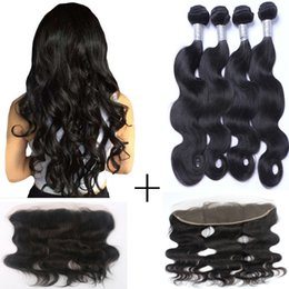 Top Quality Beauty Hair Brazilian Body Wave Remy Human Hair 3 bundles With 13*4 Lace Closure Natural Black Free Shipping