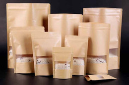 100pcs Moisture-proof Bags,Kraft Paper with Visaul frosted Window Stand UP Pouch, Ziplock Packaging Bag for Snack Candy Cookie free shipping