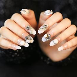 Quality 24Pcs Lot False Nails Decoration French Nail art Tip Full Cover Red White fake nail Art Shining Multi Colors Manicure nail de