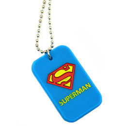 Wholesale Drop Shipping 50PCS Lot Superman Silicone Dog Tag Necklace With 24 Inch Fashion Ball Chain 3Colours