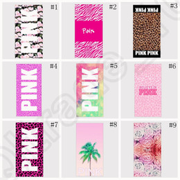 Wholesale Pink Letter Beach Towel cm Fitness Sports Towel VS Bath Towel Leopard Flower Swimwear Bathroom Towels styles OOA1258