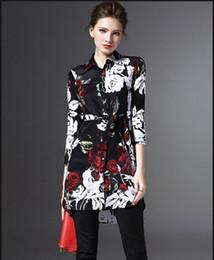 Wholesale Long Style Blouse Patterns - Women Long Shirts 2016 Spring Autumn Top Floral Print Blouse Shirt European Style Ladies Tops Women Clothing Blusas Feminina