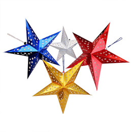 Wholesale D Five pointed Star Christmas Paper School Bar Supermarket smallpox accessories Six Colors Three Size Selection