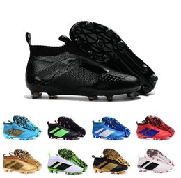 Wholesale 2017 Cheap Online Hot sale newest high ankle men Best fOOTbaLls bOOTs ACE purECOntROl green black pink sOcCEr outdoor