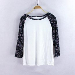 Wholesale Women Fashion Three Quarter Shirt Casual Floral T Shirt Loose Style Cotton Shirt O Neck Raglan Sleeve Top Gray White s xl