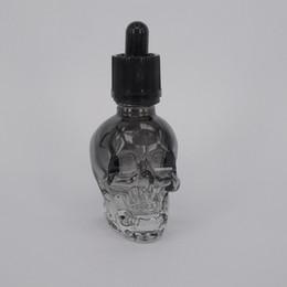 hot 30ml e liquid bottle skull shaped glass dropper bottle with glass pipette for vape e cigarettes