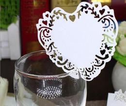Type_2 100pcs Hot Hollow Heart Paper Place Escort Card Cup Card Wine Glass Card Paper for Wedding Par Wedding Favors