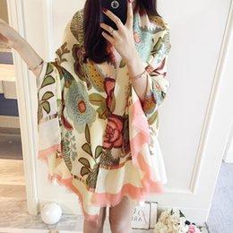 Acheter en ligne Foulards en coton de marque de gros-Vente en gros-2015 Nouveau Designer de luxe de marque Jersey coton écharpe châle pour les femmes Printemps Automne grande écharpes floraux Echarpe