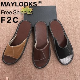 2017 New Men's Leather Slippers Summer Home Anti-slip Torsion in Couple Indoor Floor Slippers Cool Slippers