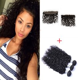 Peruvian Natural Wave Human Hair Weaves With 13*4 Lace Frontal High Quality Lace Closure With 3 Bundles 300g Extensions Dyeble