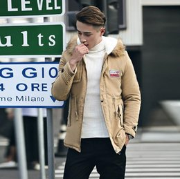 wholesale-Men's Casual Cotton Solid Color Tide Male Coat Outdoor Sport Warm Thicken Long Jacket Warm coat