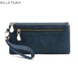 Portefeuille double portefeuille à vendre-Wholesale- High Capacity Fashion Women Portefeuilles Long Dull Polish PU Leather Wallet Femme Double Zipper Clutch Coin Purse Ladies Wristlet