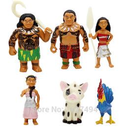 Película de acción en Línea-6pcs / lot Moana Princesa Maui Hei Pua Película de dibujos animados PVC Figuras de Acción Moana Aventuras Adornos Muñeca Juguete Regalo de Navidad para el bebé