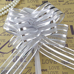 50pcs lot, 5cm Large Size Silver Color Organza Pull Bows Pull Flower Ribbons Wedding Shower Favors Supplies