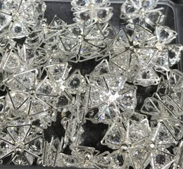 DIY fashion style Rhine Stone Silver Band Accessories four triangles cross about the size of 18mm 50pcs free shipping