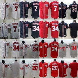 2017 gros national 34 Bryce Harper Jerseys Washington Nationals Hommes 7 Trea Turner 20 Daniel Murphy Maillots de baseball Cheap Mix Commande en gros Red Blue White bon marché gros national
