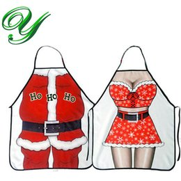 Mr Mrs Santa Claus Red Bib Apron Christmas dressing Decorations Holiday Party Costume Kitchen 56*72cm Polyester fabric 10pc for couple