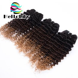 Acheter en ligne 12 24 extensions-Grade 8a Ombre Cheveux bouclés 3Bundle Ombre Extensions de cheveux Trois Tone1b 4/27 Malaysian Virgin cheveux Kinky Curly ombre cheveux humains