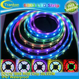 2017 couleur de rêve magique Vente en gros-5m 12V IP67 Tube imperméable à l'eau 6803 IC Magic Dream couleur LED flexibles RGB Strips 30LED / m SMD 5050 chasing Lights couleur de rêve magique ventes