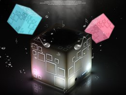 Wholesale Qone Cube Bluetooth Speaker Sound Light Subwoofer Sound Card Wireless Portable C Audio Creative Architectural Aesthetics
