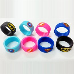 Vape Band Silicone Rings with Superman Batman Flash Captain America Logo Colorful Rubber Rings fit RDA RTA Atomizer Mods Free Shipping