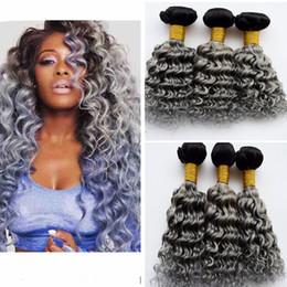 Acheter en ligne 24 profonds faisceaux de cheveux bouclés-# 1B / Grey Two Tone Ombre Paquets de vagues profondes Dark Roots Grey Deep Curly Malaisien Virgin cheveux tisse extensions