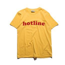 Asian Size High Quality HotLine T Shirts Men Women 100% Cotton Neuter Harujuku Yellow Tee Casual Realness Brand-clothing GCDS T-shirts