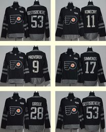 Wholesale 2017 Mens Ad Philadelphia Flyers Konecny Provorov Gostisbehere Giroux Simmonds Black th Centennal Classic Premier Jersey