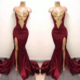 Sexy Burgundy Mermaid High Split Prom Dresses Gold Lace Appliques High Neck Prom Dress African Party Gowns