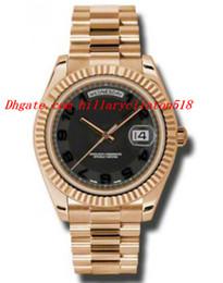 Wr s en Línea-Relojes de lujo de primera calidad Day-Date II Negro Dial concéntrico 18K Everose Oro Presidente automático de los hombres reloj 218235BKCAP 41mm Mens Watch Wr