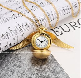 Steampunk Enchanted Flying Golden Ball Time Piece Locket Necklace Golden Wizard Orb with gift box