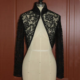 Real Picture Black Lace Long Sleeve Jacket Wedding Evening Prom Party High Neck Illusion Bolero Open Front Wraps
