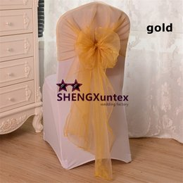 Gold Color Organza Chair Bow Chair Sash Fit For Wedding Chair Cover