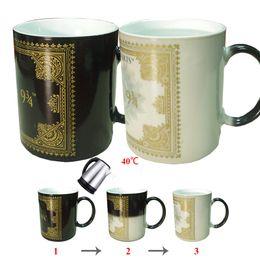 Wholesale Heat Sensitive Ceramic Mugs best gifts harry potter ceramic magic full color changing mug tea cups DHL Free OTH326