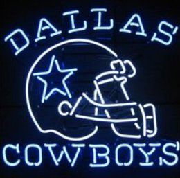 Promotion panneaux de cowboy Dallas Cowboys Helmet Star Neon Sign Fabriqué à la main Custom Real Glass Tube Beer Bar Clubs KTV Pub Disco Party Display Neon Signes 18