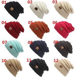 Sombreros casual para los hombres en Línea-Mujeres Hombres Gorras de invierno Gorra de lana tejida Unisex plegables Casquillo CC Gorras de etiquetado Sombrero Color sólido Hip-Hop Skullies Beanie Hats