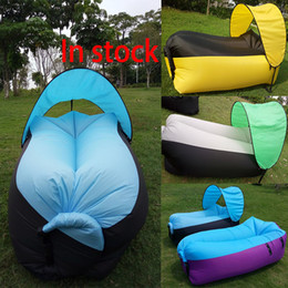 Wholesale Fast Inflatable Sofa With Sunshade Sleeping Bag Outdoor Lazy Pads Chair Portable Beach Camping Backpacking Travel Bed cm WX P04