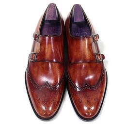 Promotion chaussures robe de moine Hommes Chaussures de marche Monk Strap Oxfords Custom Chaussures à la main Pointe ronde Cuir de veau authentique Couleur patine rouge brun HD-N190