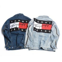 Wholesale New Ripped Denim jacket hip hop streetwear printing loose men and women unisex broken jean jackets street couple denim jacket
