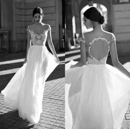 2018 Gali Karten Ivory Wedding Dresses Sheer Neck Short Sleeves Illusion Bodices Sexy Open Back Lace Chiffon Bridal Gowns Vintage