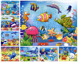Wholesale pieces The animated cartoon Ocean World puzzle paper sea animals children baby toys gifts cm
