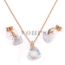Yoursfs 18K Rose Gold Plated Charming Loving Crystal Necklace And Earring Jewelry Use Austrian Crystal Bridal Sets