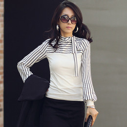 Korean Fashion Women Lady Ladies Slim T-Shirt Puff Long Sleeve Polo Neck Stripe Tops Black White