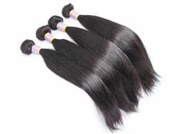 Acheter en ligne 18 black hair-Tissus de cheveux brésiliens Traumatismes de cheveux humains vierges non prédéfinis Extensions de cheveux péruviennes indiennes malais Doublure double Noir naturel Peut être teint