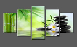 5 Panels Canvas Print SPA Stone, Bamboo Photo Canvas Art Stretched and Framed Ready to Hang for Home Decoration wall