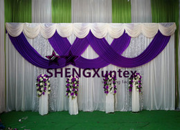 Ivory And Purple Color Wedding Backdrop Curtain Include The Silver Sequin Fabric For Sale