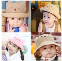 Wholesale Child Boy Model Beach - Korean Bear Straw Hat Boys And Girls Children 's Hat Spring And Summer Models Baby Cute Hat Sun Hat S310
