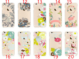 Wholesale For Iphone S SE S Plus Plus Fresh Cute Bird Colorful Beautiful nice Flower Painting skin Soft TPU Gel Clear Cover case cases