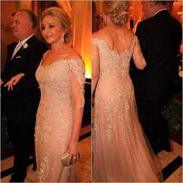Elegant Mother Of The Bridal Dresses V Neck Off Shoulder Mermaid Tulle Sequins Appliques Long Sleeves Evening Gowns Wedding Guest